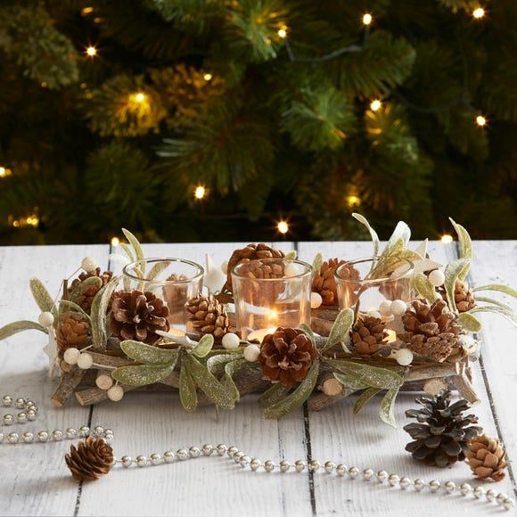 Mistletoe 3 Tealight Centrepiece Green