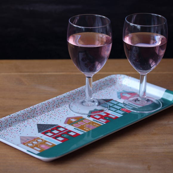 Festive Folk House Melamine Tray MultiColoured
