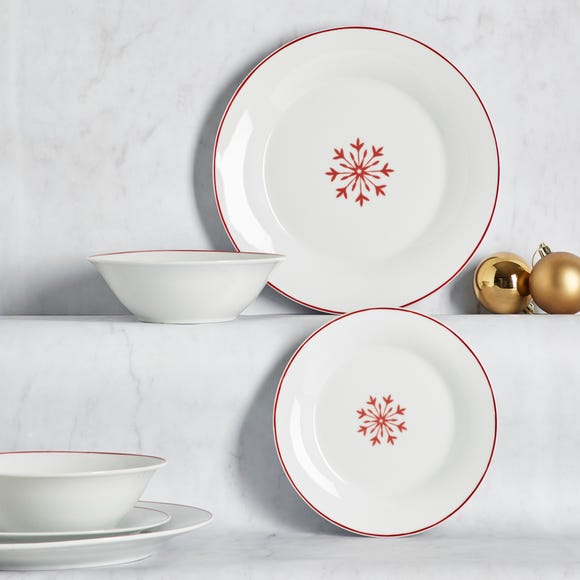 Snowflake 12 Piece Porcelain Dinner Set White