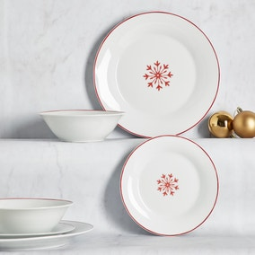 Snowflake 12 Piece Porcelain Dinner Set