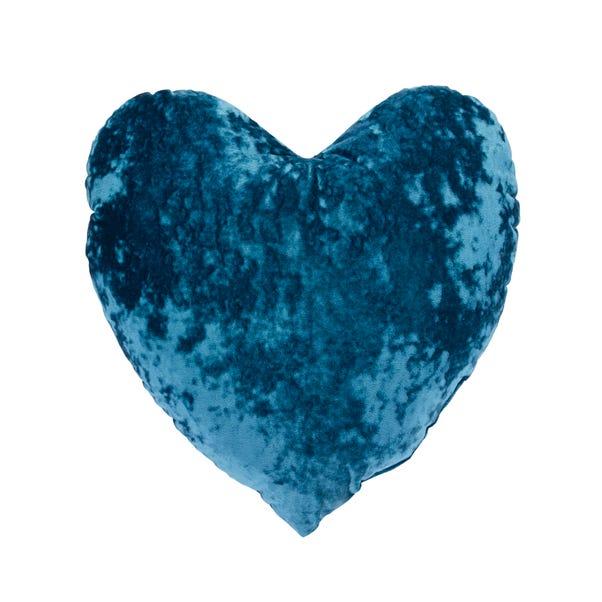 Heart Crushed Velour Cushion Peacock (Blue)