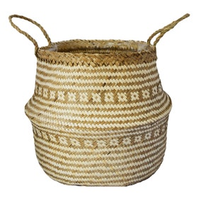 Small Seagrass Tribal White Lined Basket