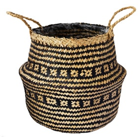 Small Seagrass Tribal Black Lined Basket