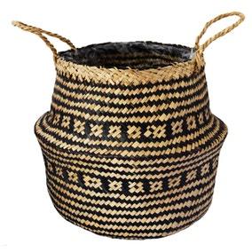 Medium Seagrass Tribal Black Lined Basket