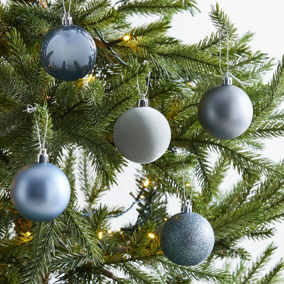 Pack of 30 Blue Baubles MultiColoured