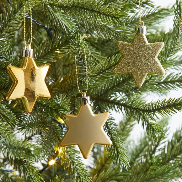 Pack of 8 Gold Star Baubles Gold