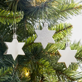 Pack of 8 Silver Star Tree Decorations