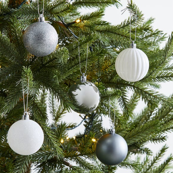 Pack of 30 Silver and White Baubles MultiColoured