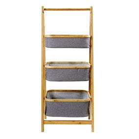 Grey Bamboo 3 Tier Storage Basket Ladder