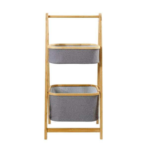 Grey Bamboo 2 Tier Storage Basket Ladder Grey