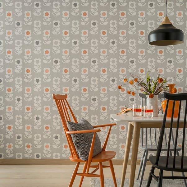 Retro Floral Orange Wallpaper Orange