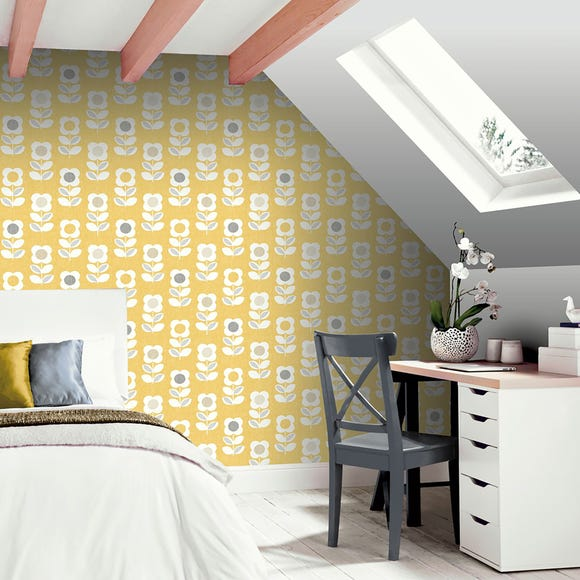 Retro Floral Yellow Wallpaper Yellow