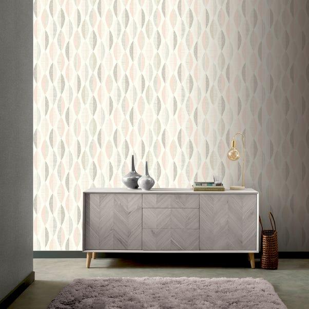 Aziza Geometric Blush Wallpaper Pink