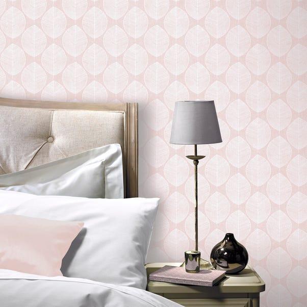 Scandi Leaf Pink Wallpaper Pink