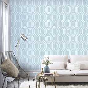 NY Geometric Teal Wallpaper