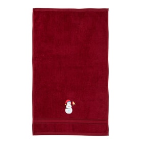 Red Snowman 100% Cotton Novelty Hand Towel