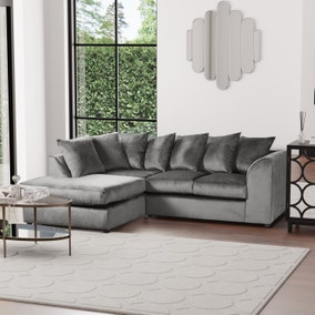 Michigan Left Hand Grey Velvet Corner Sofa