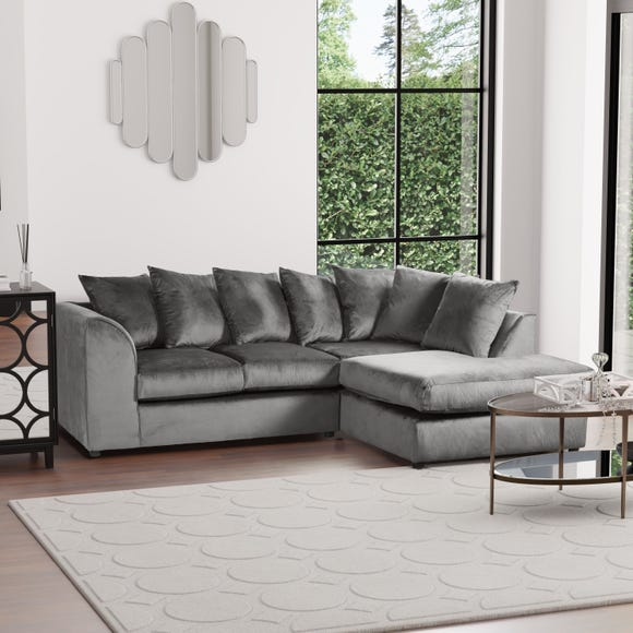 Michigan Right Hand Grey Velvet Corner Sofa