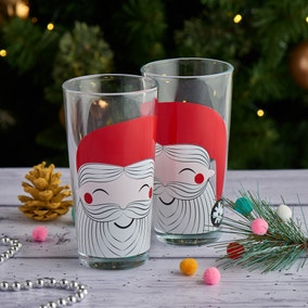 Festive Folk Santa Hiball Glass