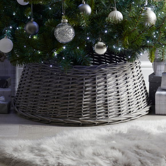 Grey 60cm Wicker Tree Skirt Grey