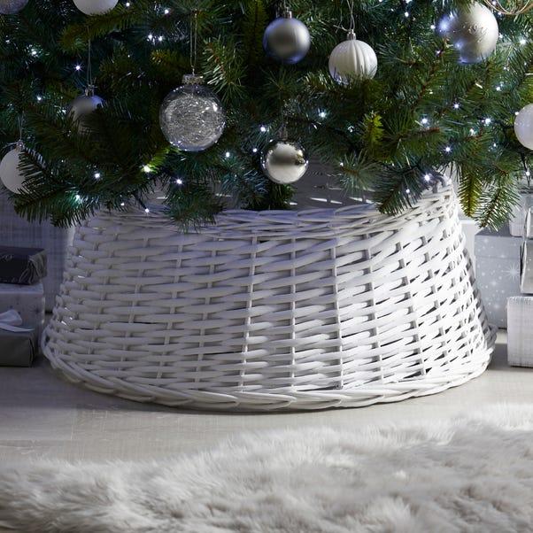 White 60cm Wicker Tree Skirt White