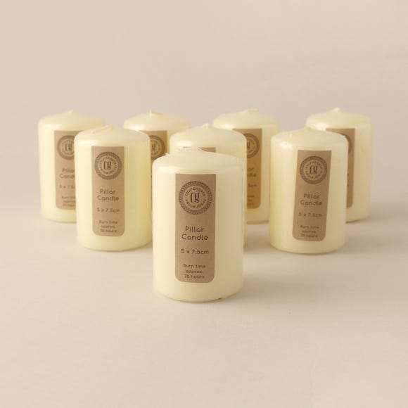 Pack of 8 Church Candles 5cm x 7.5cm Cream