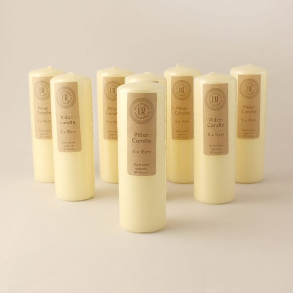 Pack of 8 Church Candles 5cm x 15cm Cream