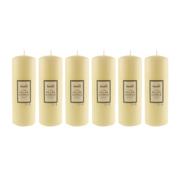 Pack of 6 Church Candles 7.5cm x 20.5cm Cream