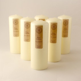 Pack of 6 Church Candles 7.5cm x 20.5cm