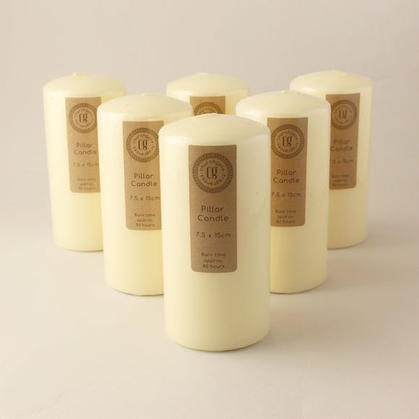 Pack of 6 Church Candles 7.5cm x 15cm Cream