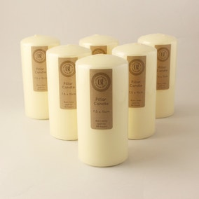 Pack of 6 Church Candles 7.5cm x 15cm