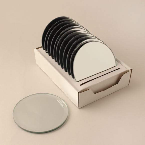 Pack of 12 Bevelled Edge Mirror Candle Plates Silver
