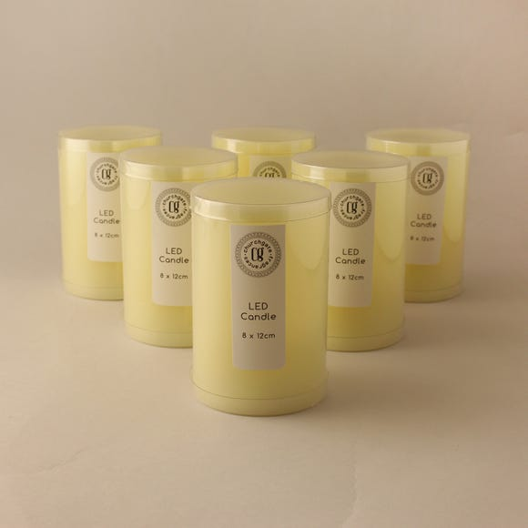 Pack of 6 LED 12cm Church Candles Cream