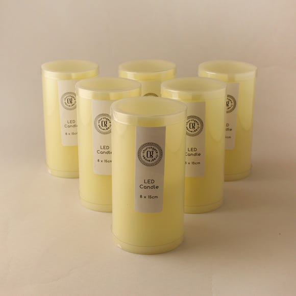 Pack of 6 LED 15cm Church Candles Cream