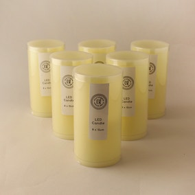 Pack of 6 LED 15cm Church Candles