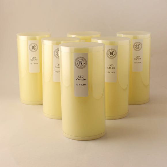 Pack of 6 Cream LED Church Candles Cream