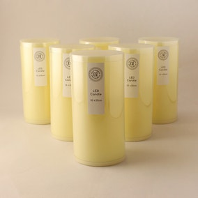 Pack of 6 Cream LED Church Candles