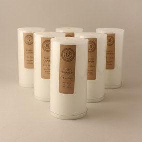 Pack of 6 White 15cm Rustic Candles