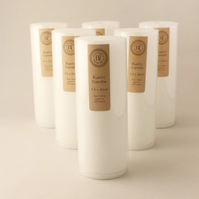 Pack of 6 White 20cm Rustic Candles