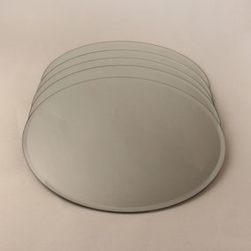 Pack of 5 Large Round Mirror Candle Plates