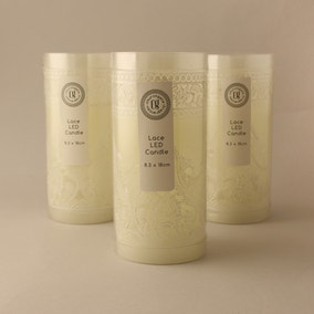 Pack of 3 Lace LED Candles