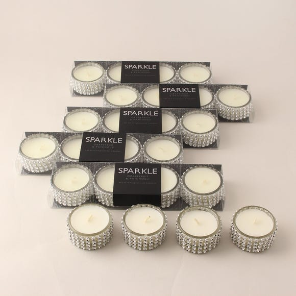 Sparkle Grapefruit and Patchouli Pack of 24 Tin Candles Silver