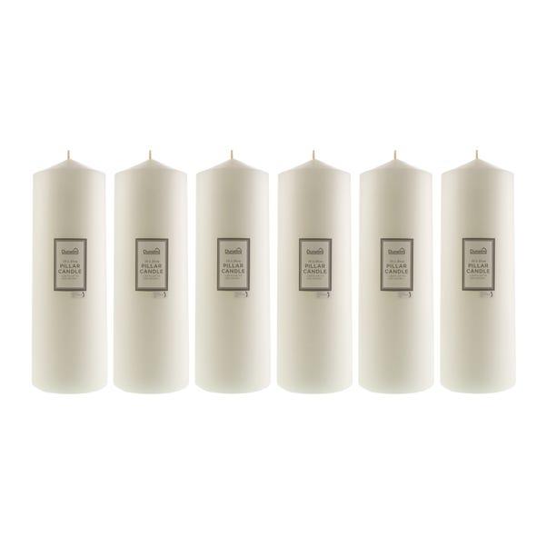 Pack of 6 Essentials White Pillar Candles 10cm x 30cm White