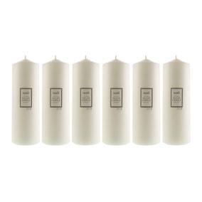 Pack of 6 Essentials White Pillar Candles 10cm x 30cm