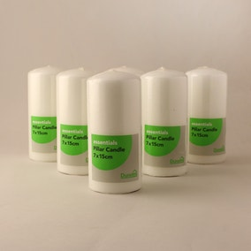 Pack of 6 Essentials White Pillar Candles 7cm x 15cm