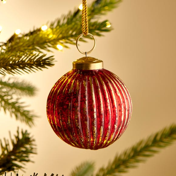 Red & Gold Round Glass Bauble Red