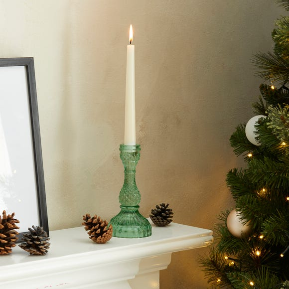 Small Green Glass Dinner Candle Holder Green