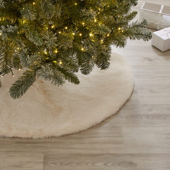 Ivory Faux Fur Tree Skirt Ivory