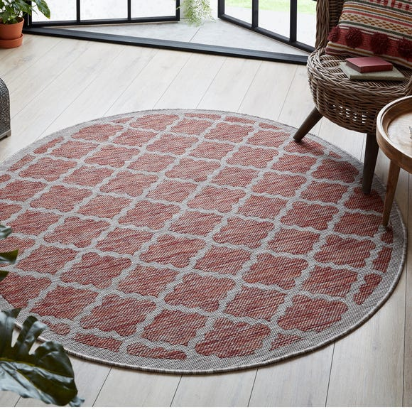 Padua Red Circle Geometric Indoor Outdoor Rug Padua Red undefined