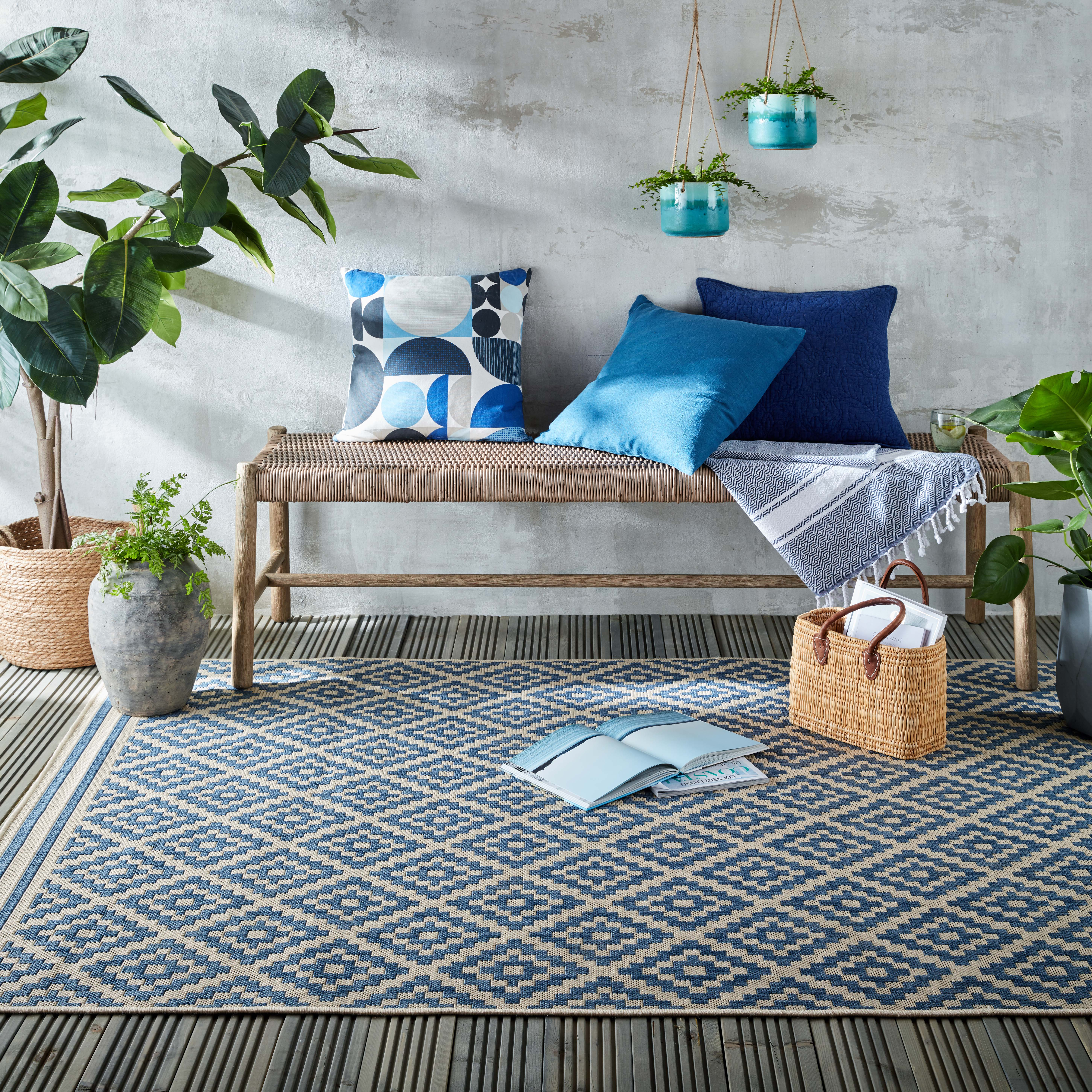 Photo of Indoor outdoor moretti rug blue and red
